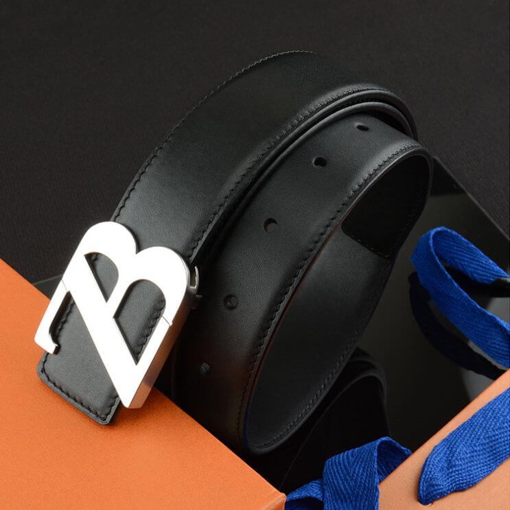 Dây lưng nam da bò mặt khóa thép không gỉ chữ cách điệu nghệ thuật ZB - C425