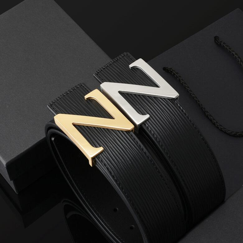 Thắt lưng da bò vân dạng sóng mặt khóa hình chữ Z mạ vàng 18k  sang trọng C461