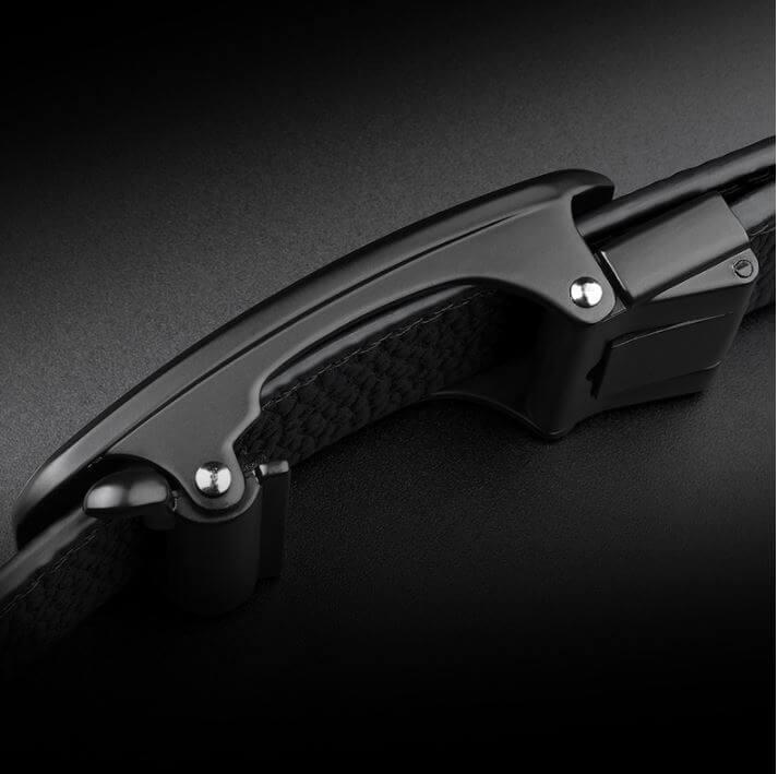 Thắt lưng da bò mặt khóa tự động hình cá sấu sang trọng C517