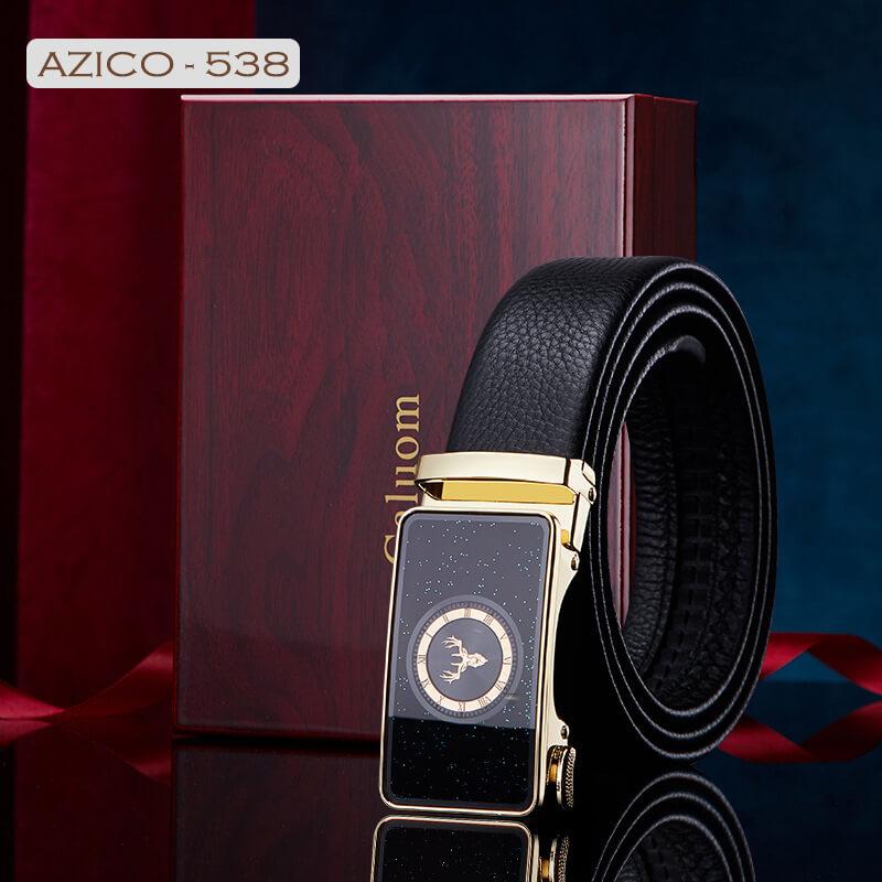 Thắt lưng da bò mặt khóa gương bóng mô phỏng chiếc đồng hồ kèm hộp quà tặng C538