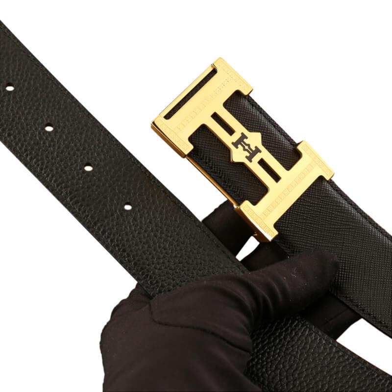 Dây nịt da bò mặt khóa thép không gỉ  hình chữ H tinh xảo  C642