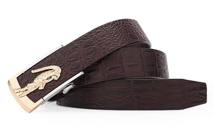 Dây lưng da bò dập vân đẹp mắt kết hợp mặt khóa hình cá sấu sang trọng C666