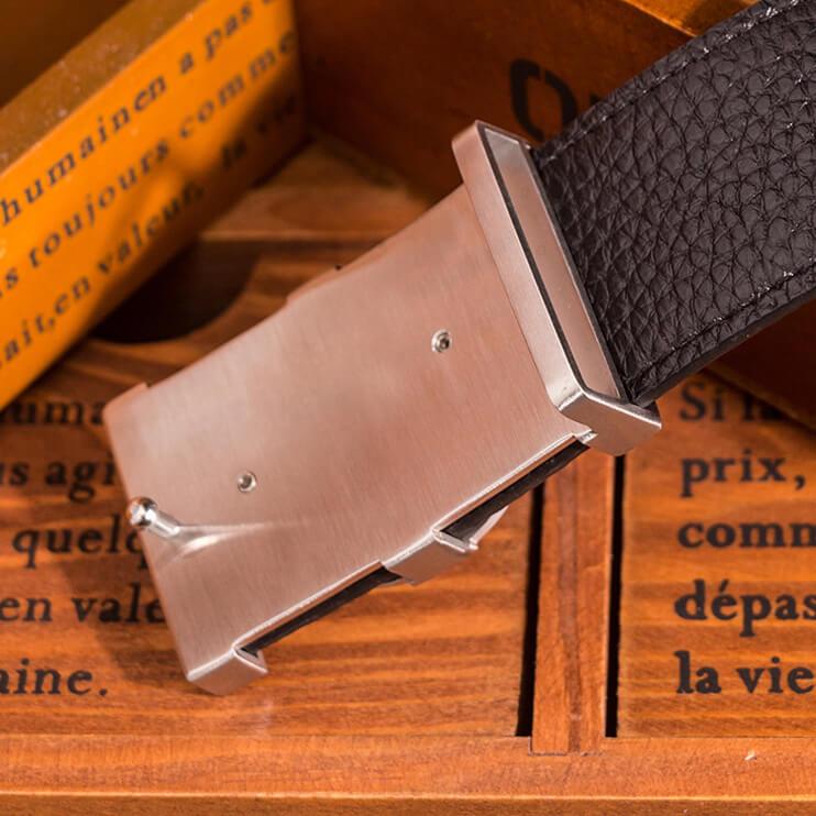 Dây lưng da bò cao cấp chữ G khóa bấm khâu viền bền bỉ C371