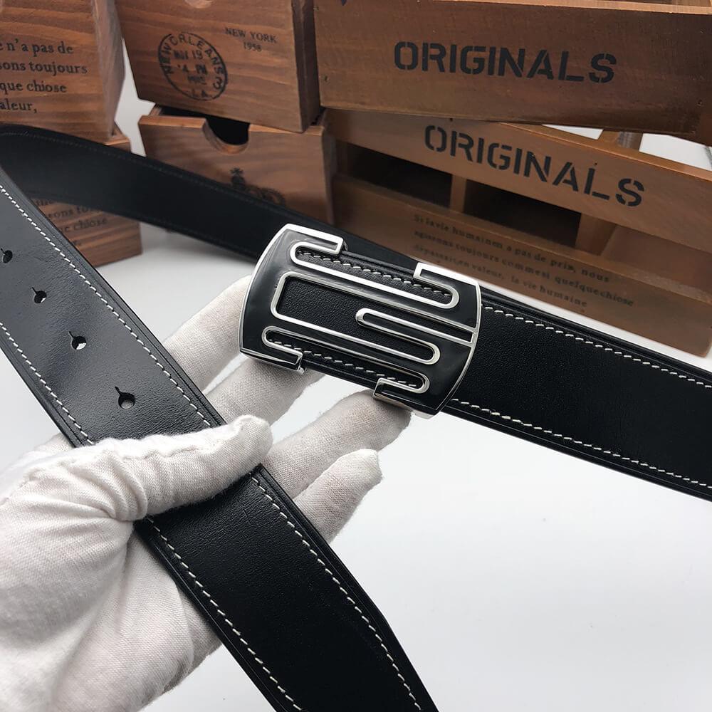 Thắt lưng da bò Ý khóa bấm thép không gỉ bản 3,5cm C482