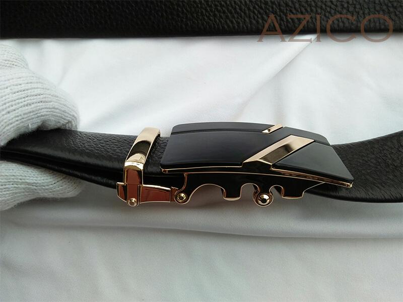 Dây lưng nam khóa sọc vàng da bò cao cấp C650