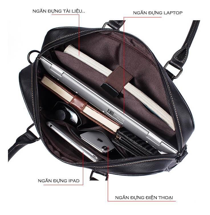 Cặp túi xách nam da bò siêu bền màu đen thanh lịch A6656