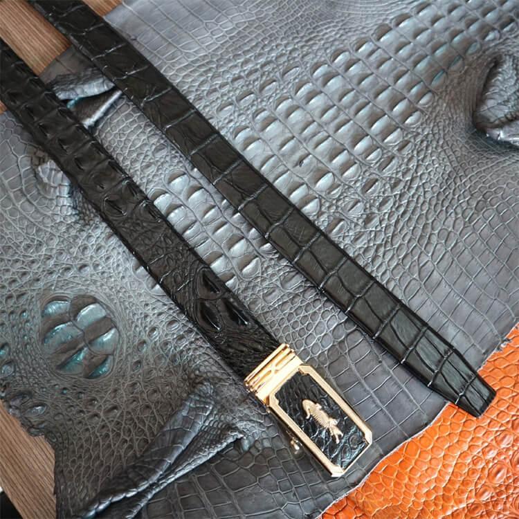 Thắt lưng da cá sấu gai lưng liền màu đen bản 3,5cm