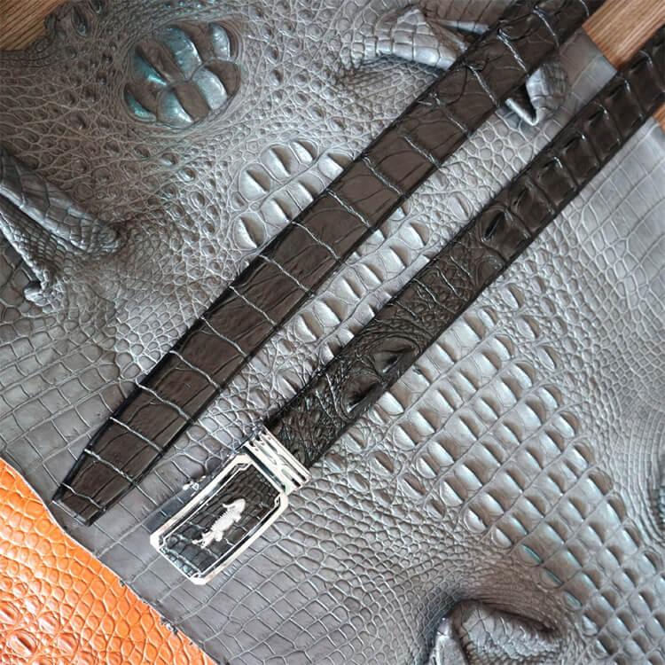 Dây lưng bản liền gai lưng khóa bạc dây đen bản 3,5cm