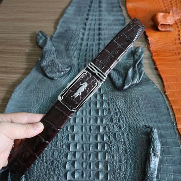 Thắt lưng liền dây nâu khóa màu bạc vân gai bản 3,5cm