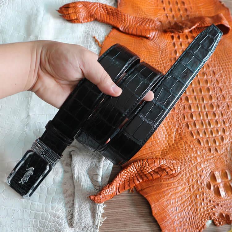 Thắt lưng cá sấu vân bụng trơn khâu viền 2 bên bản 4cm