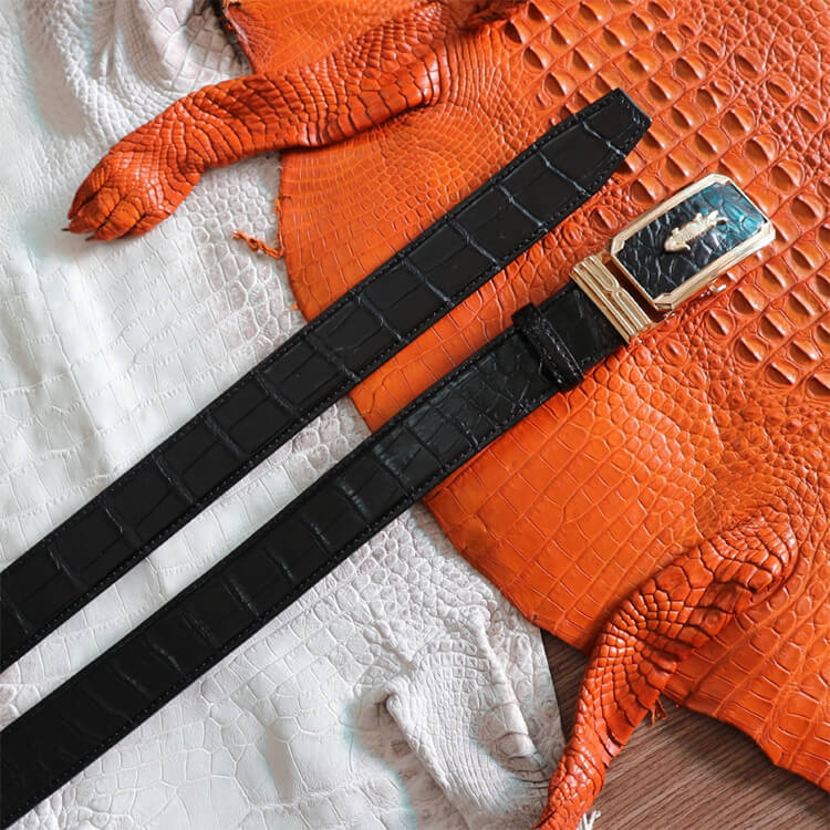 Dây nịt vân bụng trơn da cá sấu dây đen khóa vàng bản 3,5 - 4cm