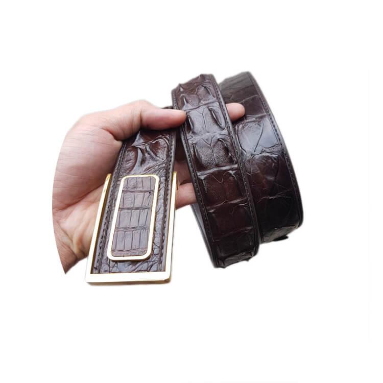Dây lưng vân gai cá sấu liền bản 4cm khóa vàng chất lượng E780