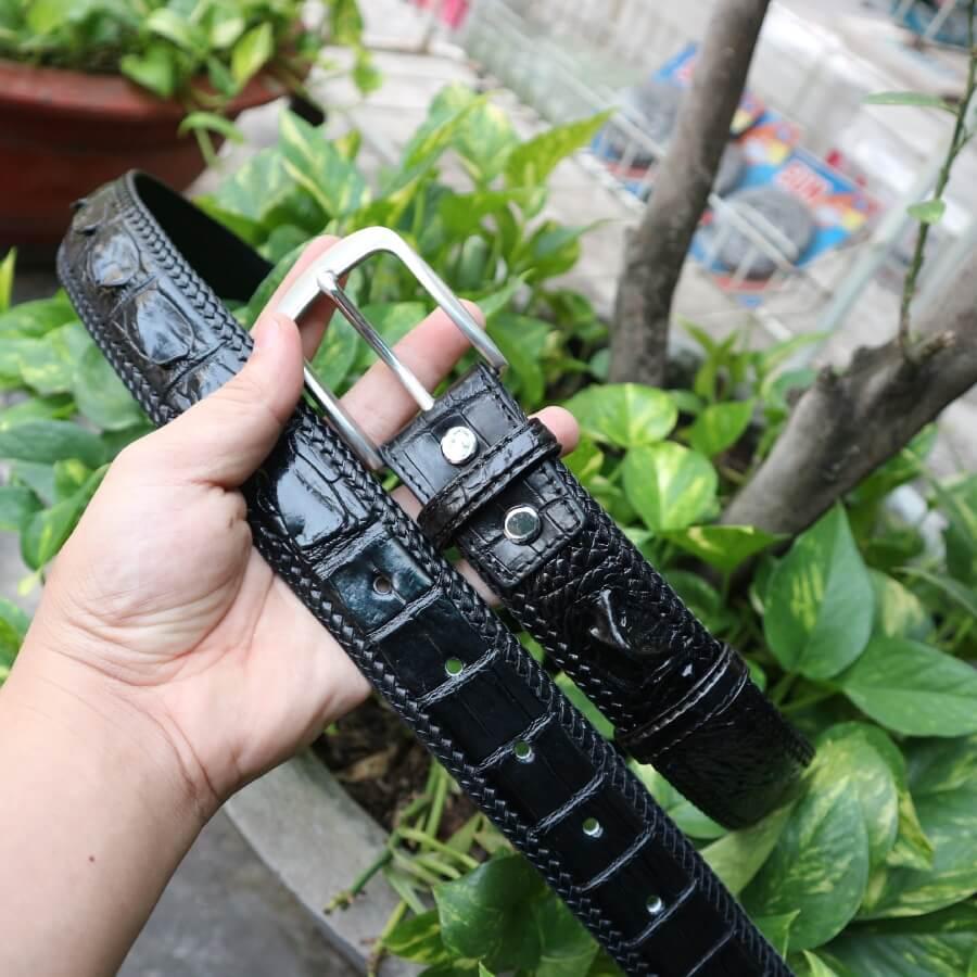 Thắt lưng da cá sấu đan viền khóa xỏ kim vân gai lưng bản 4cm E490