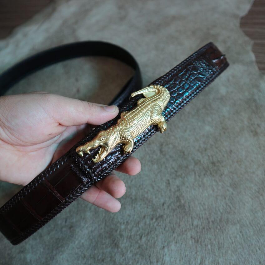 Thắt lưng da cá sấu đan viền khóa đồng đúc bản 4cm siêu sang E520