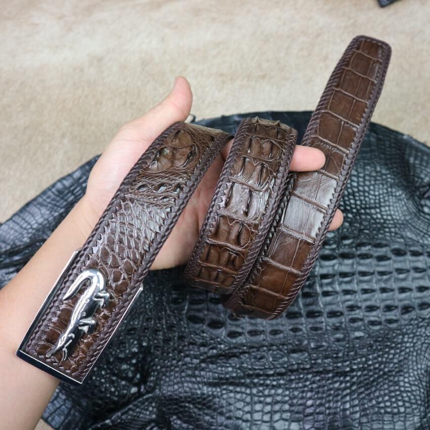 Dây lưng vân gai cá sấu liền đan viền đẳng cấp bản 4cm khóa vàng chất lượng E780