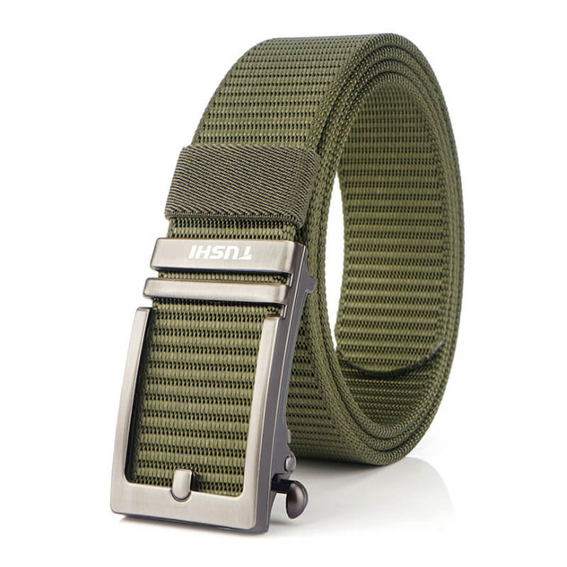Thắt lưng vải khóa kẹp tự động giả dáng khóa kim cổ điển bản dây 3.4cm H002