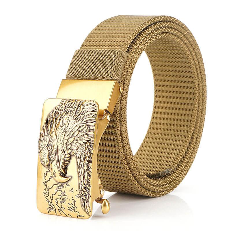 Thắt lưng nam vải bố khóa kẹp tự động hình chim ưng H010