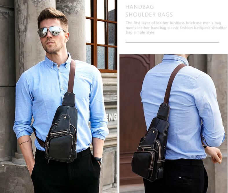 Túi đeo chéo nam cao cấp da thật phong cách Retro G175