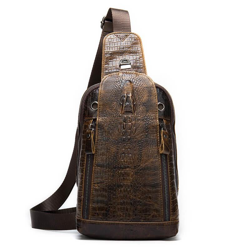 Thông tin sản phẩm túi đeo chéo da bò dập vân cá sấu độc, lạ G456