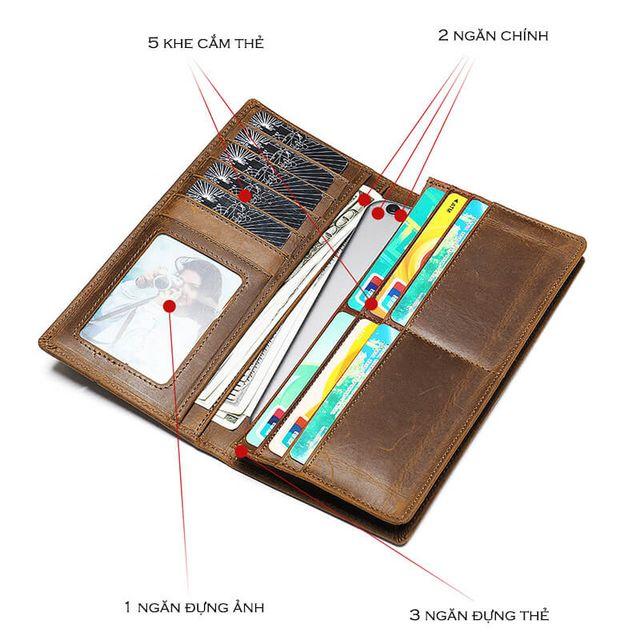 Các ngăn bên trong của ví cầm tay D097