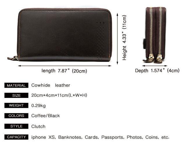 Kích thước của mẫu ví cầm tay nam D102