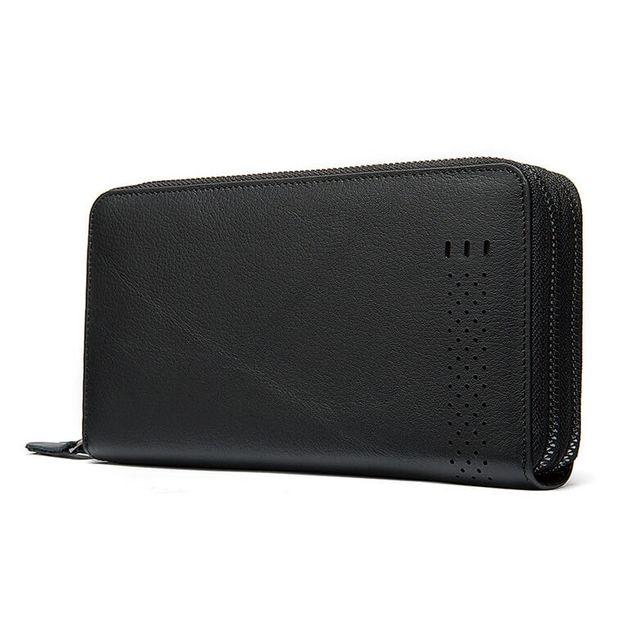 Mặt nghiêng của mẫu  ví cầm tay nam D102 màu đen