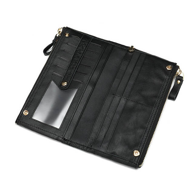 Mặt trong của mẫu ví cầm tay D695 màu đen