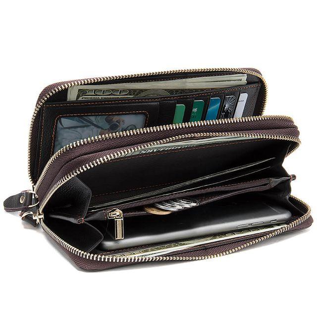 Ngăn bên trong của ví cầm tay da bò D463