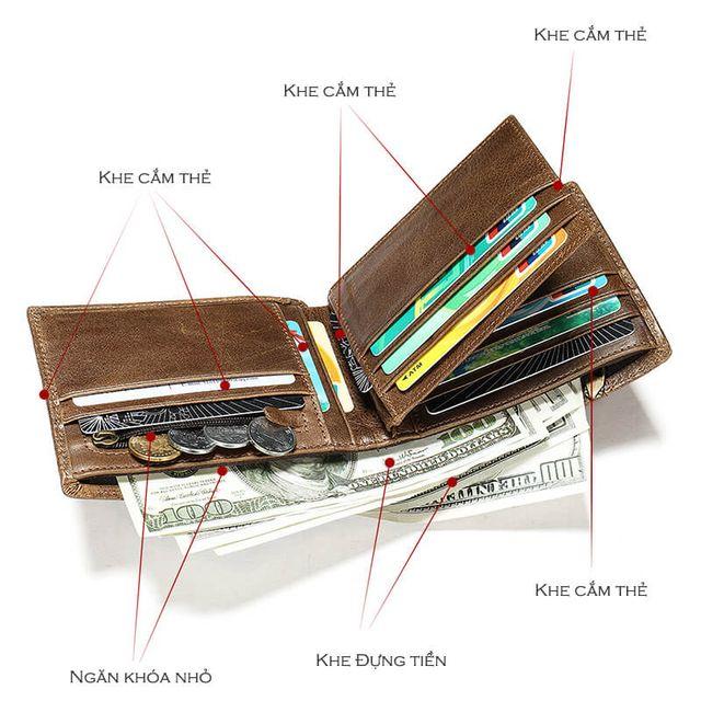 Những ngăn bên trong của mẫu ví nam D610