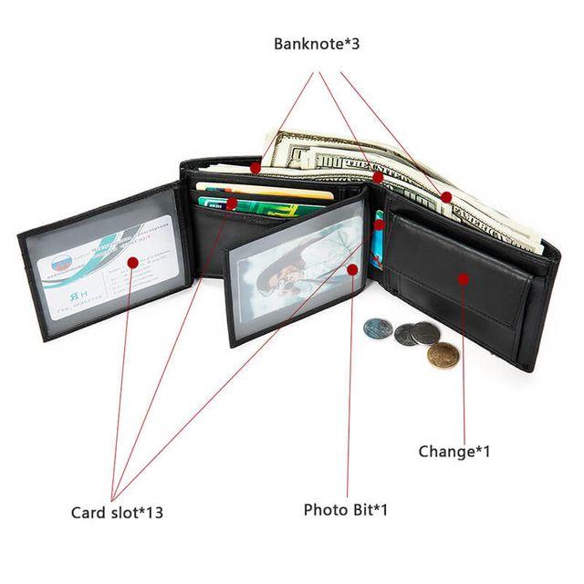 Các ngăn bên trong ví ngang nam D036