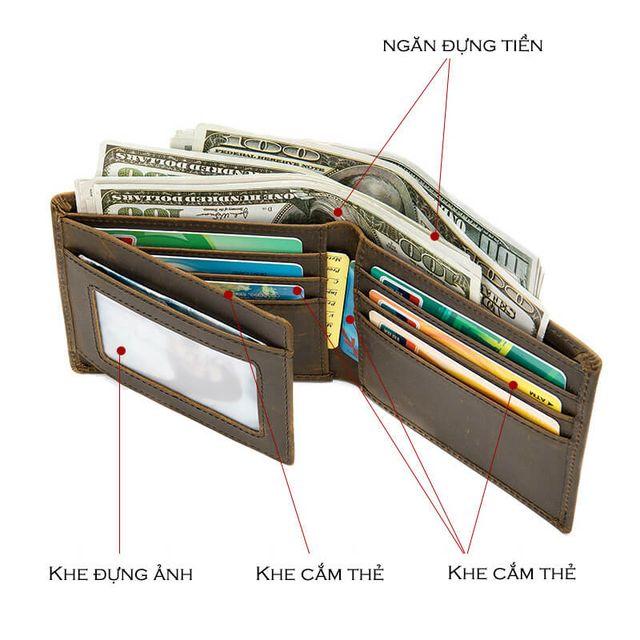 Bên trong của ví da bò thật D686 có nhiều ngăn có thể đựng đồ